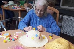 making Easter bonnets - residential nursing home Chesterfield