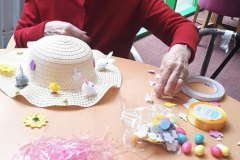 making Easter bonnets - residential nursing home Chesterfield