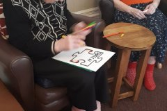 Decorative puzzle pieces at Chesterfield nursing home, Bank Close House