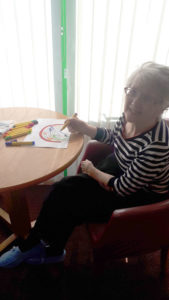 colouring rainbows Chesterfield care home