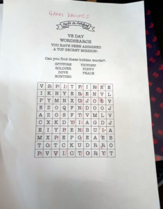 VE Day wordsearch care home Chesterfield