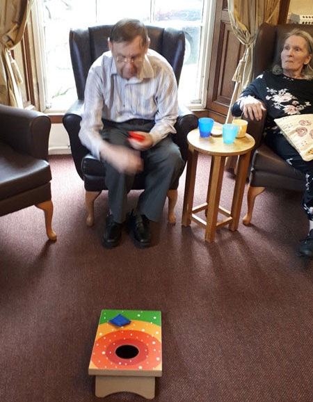 bean bag game Chesterfield care home