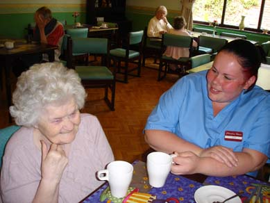 Charnley house nursing care home Hyde painting tea and conversation
